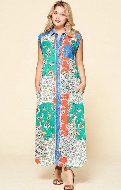Cambridge Dress - Denim/Green