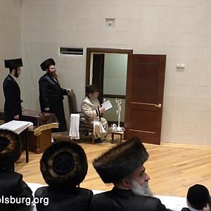 The Rebbe lighting the Menorah on Chanukah 2010