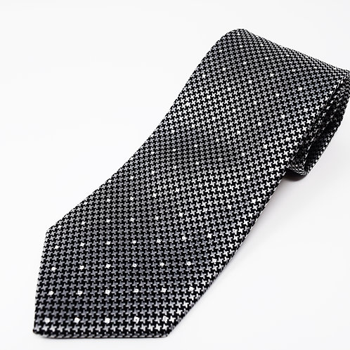 Silver Houndstooth with Crystal Stones