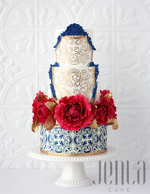 Paying homage to the bride heritage, this cake features Portuguese tiles (azulejos), 24K gold hand painted motif, navy blue moulding and bright pink sugar peonies - JENLA Cake, Toronto