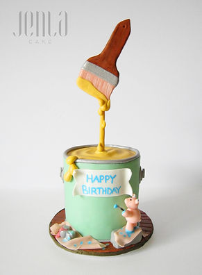 Gravity defying cake, with little fondant pig is wishing you a happy birthday!