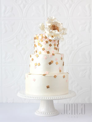 3-tiers of cake with cascading gold and pink confetti for the happiest of weddings - JENLA Cake, Toronto