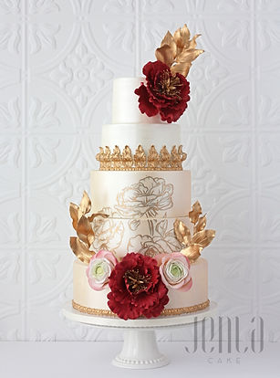 The perfect palette for a fall wedding. This cake features a brushed satin finish, beautiful deep shaded flowers and 24K gold details perfectly frame hand-painted roses. - JENLA Cake, Toronto