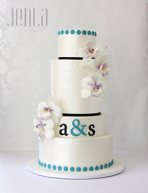 This modern cake was inspired by the couple's wedding invitations. Perfectly place dots and a hand cut monogram sit perfectly polished with cascades of purple orchids made of sugar - JENLA Cake, Toronto