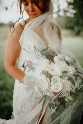 bride and wedding flowers