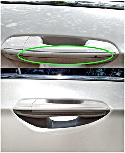 White Car Door Handle Airbrush Touch Up