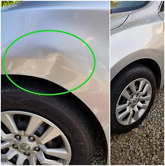 Silver Nissan Fender Paintless Dent Repair