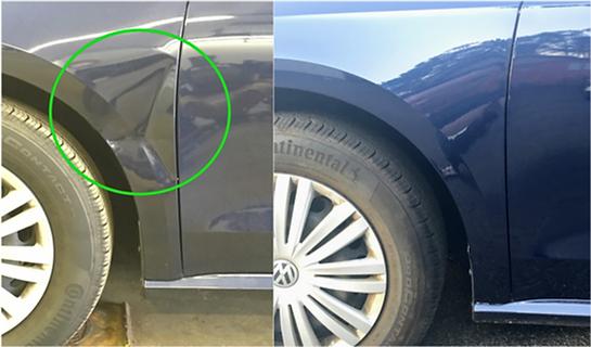 VW Blue Passat Fender Paintless Dent Repair