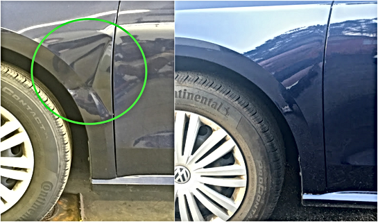 VW Blue Passat Fender Paintless Dent Repair