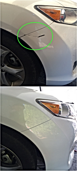White Front Bumper, Airbrush Touch-up