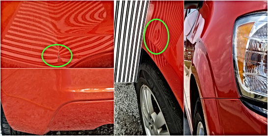 Orange Chevy Sonic Rear Bumper Airbrush Touch Up Fender Paintless Dent Repair