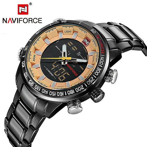 Men's Naviforce Sports Watch - Black and Caramel
