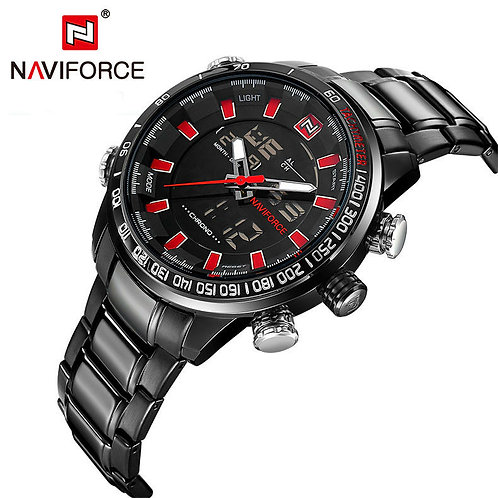 Men's Naviforce Sports Watch - Black and Red