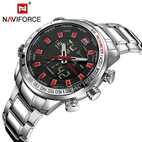 Men's Naviforce Sports Watch - Silver and Red