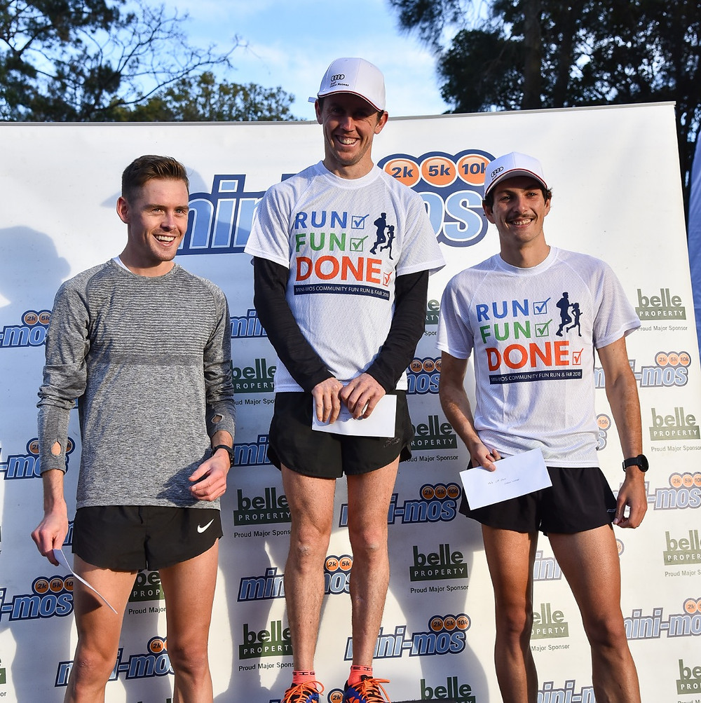 Men's 10k winners: L-R Kevin Batt, Liam Adams, Jordan Gusman.