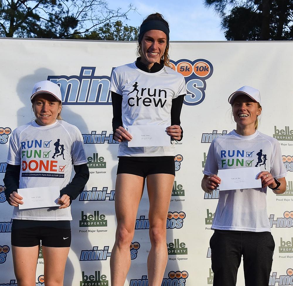 Women's 10k winners: L-R Charlotte Wilson, Abigail Regan, Marnie Ponton.
