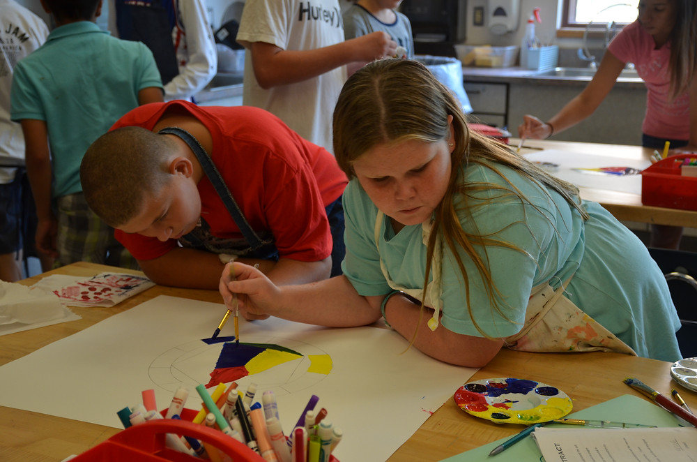 Students persevere through a painting challenge