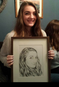 Hannah with her portrait