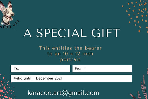 Gift certificate 10 x 12