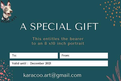 gift certificate 8 x 10