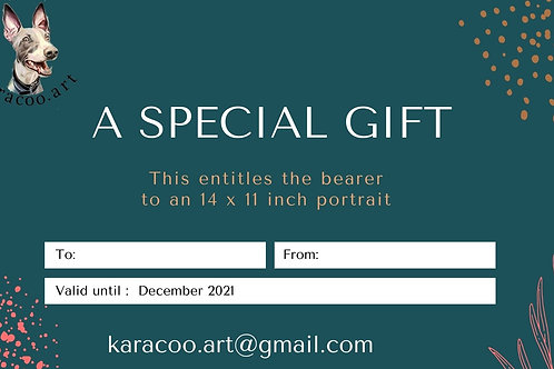 Gift certificate 14 x 11 inches