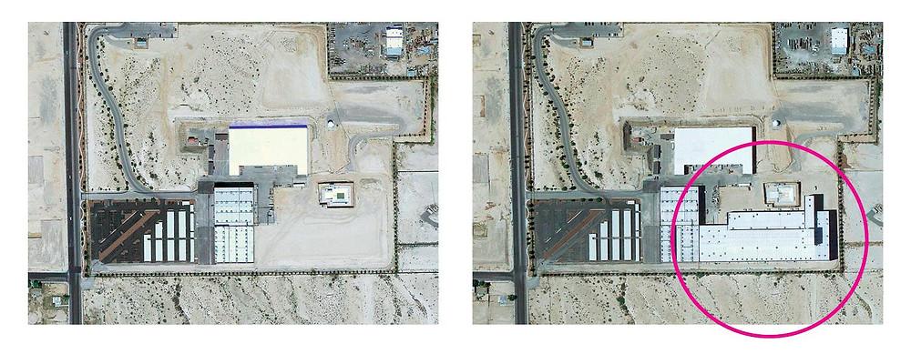 Gli edifici della Bigelow Aerospace di Las Vegas prima e dopo i lavori di ampliamento