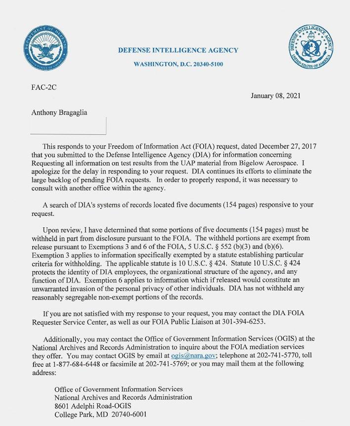 La lettera di risposta della DIA a Bragalia