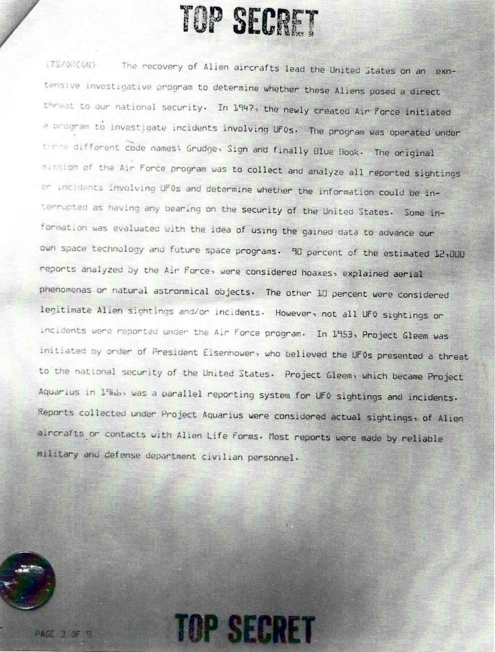 Alcune pagine dei presunti documenti del Progetto Aquarius