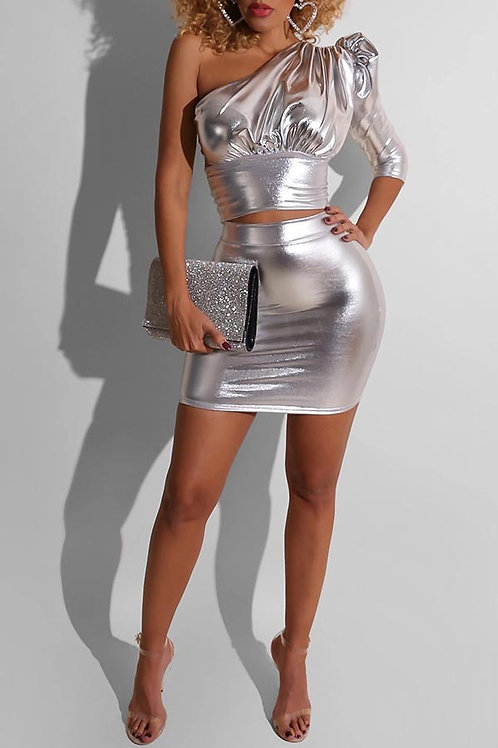 2 piece metallic blouse & skirt set
