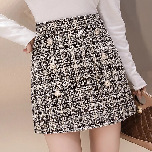 Women's Lion Buttons Double Breasted Tweed Wool Houndstooth Mini Skirt