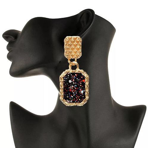 Asrael Drip Black/Gold Earrings