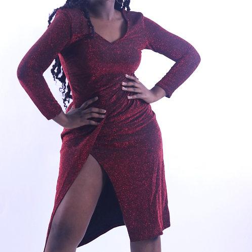 Split side glitz&glam long sleeve dress
