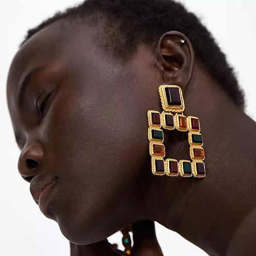 Color block square earring