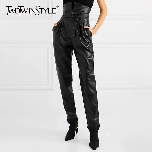 Twotwinstyle highwaisted leather fashion pants