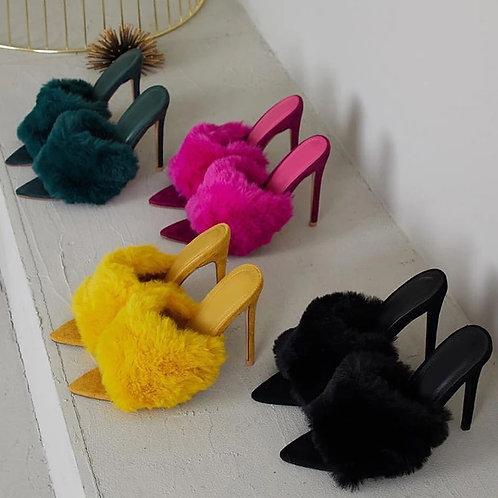 Luxury Rabbit Fur High Heel Sandals