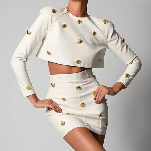 JillPeri Vegan Leather Long Sleeve Crop Top and Skirt with Gold Button