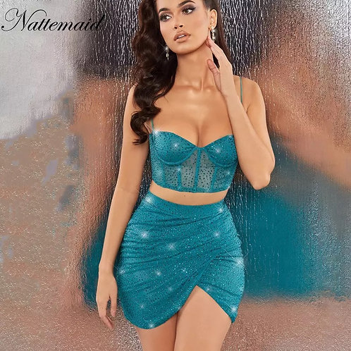 NATTEMAID Blue Diamond Glitter Sexy Two Piece Set Mesh Tops And Skirt