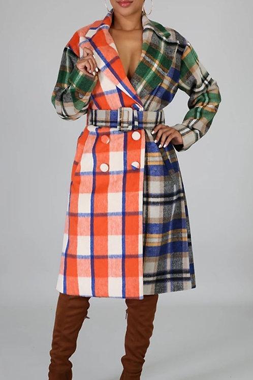 Multicolor tartan trench coat