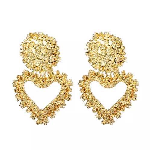 Gold Heart Fashion Earings