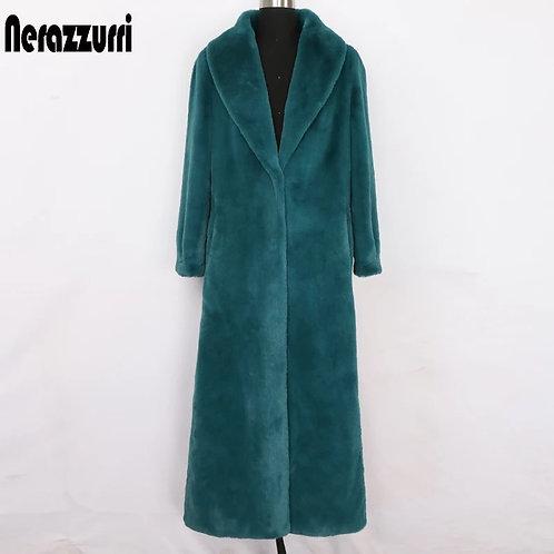 Nerazzurri Winter maxi faux fur coat