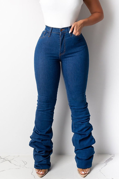 High waisted ruffle foot jeans