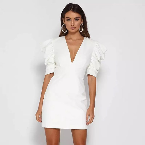 NATTEMAID Summer White Bodycon Sexy Dress Women Back Hollow Out Zipper Elegant M