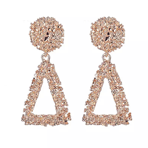 Rose gold fashion triangle earring