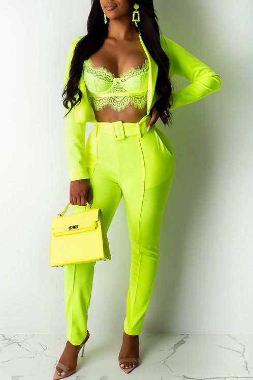 Chic Lapel Green Two-piece Pants Set (without brallette)