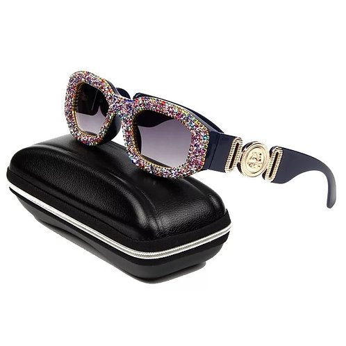 Luxury Crystal Square Small Steam Punk Sunglasses