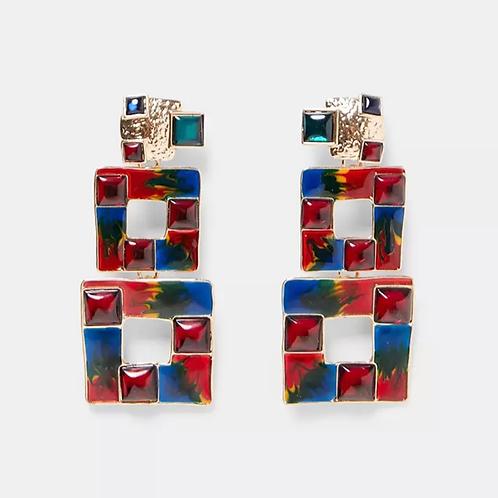 Two step color block earings
