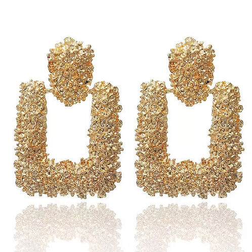 Chunky Gold Square Earring