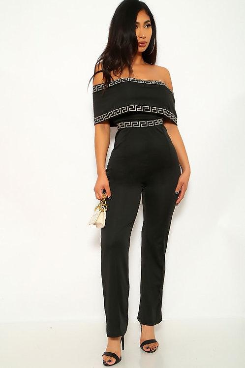 Black Off The Shoulder Dressy Jumpsuit