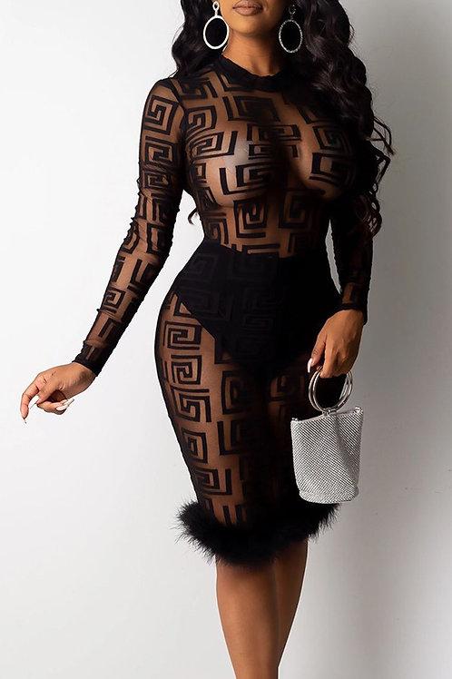See through fur detail body on dress