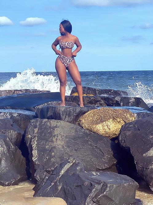 Leopard print 2piece high waisted bikini set